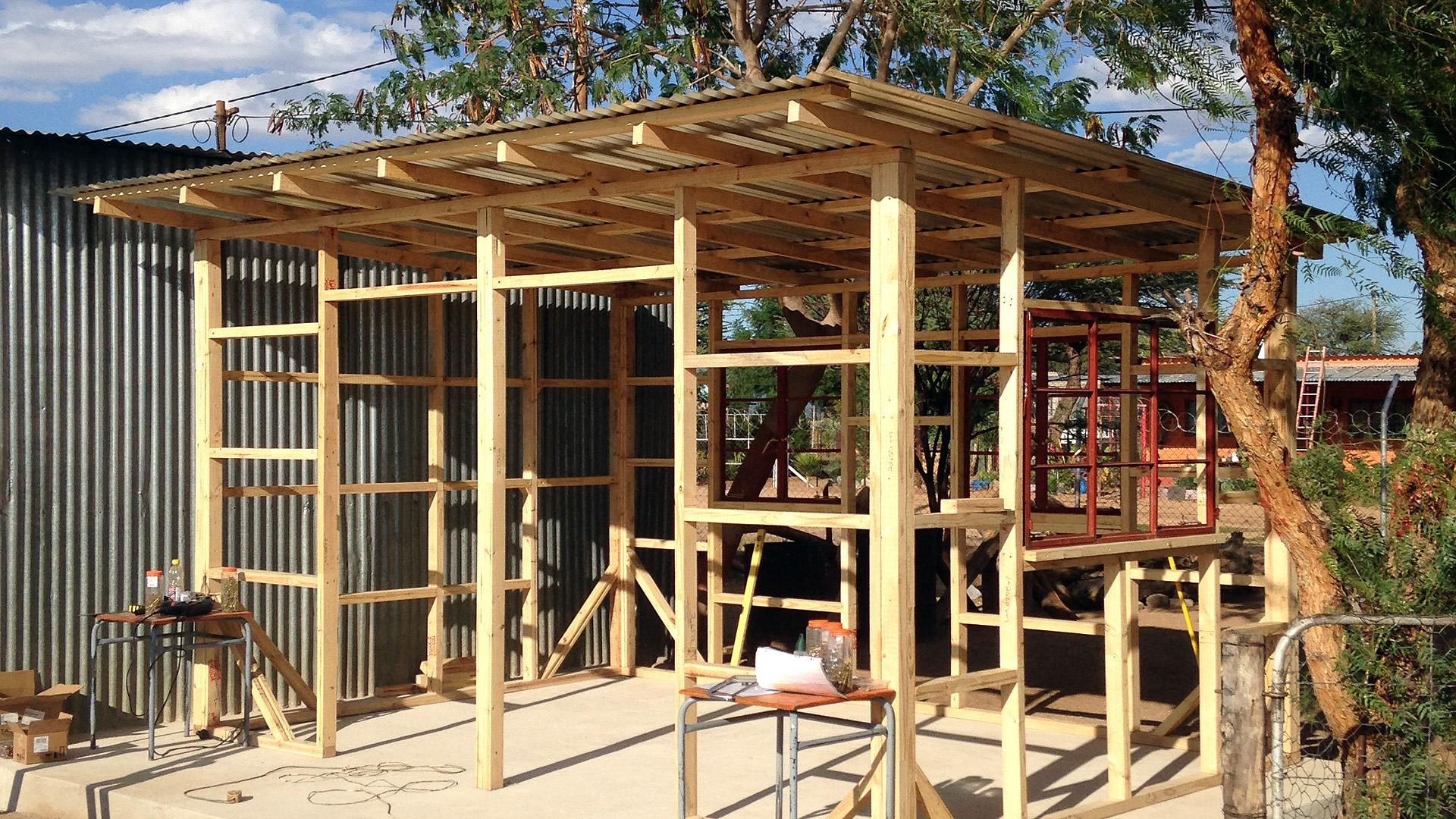 wooden construction of the schoolgarden kitchen