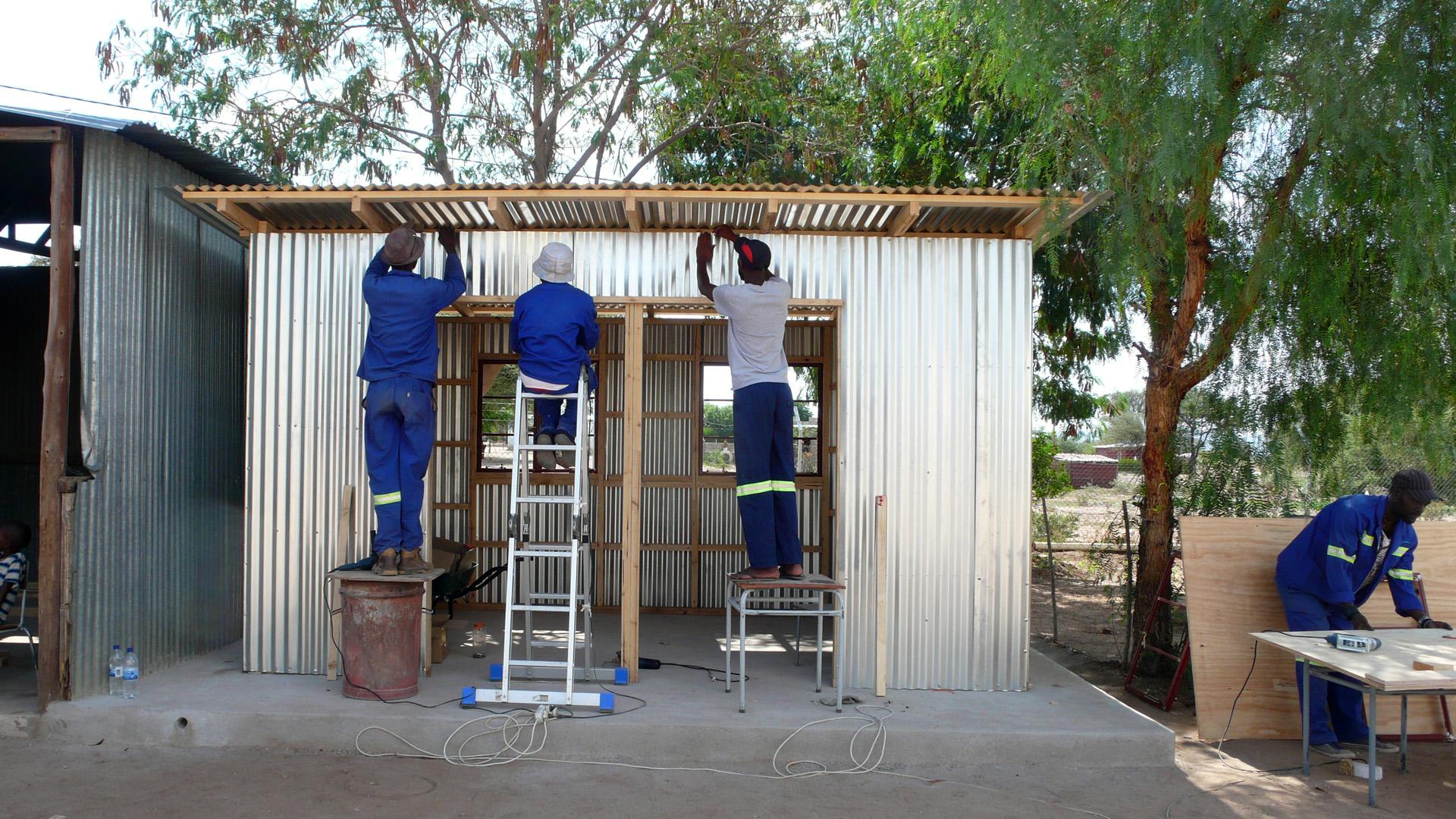 corrugated iron construction of the schoolgarden kitchen